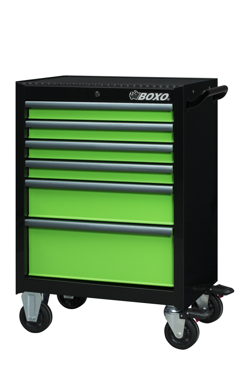 """BOXO USA 26TBM-G 26"""" Roller Cabinet and Top Chest with 217 Piece Master Tool Set - Gloss Black with Gloss Green Drawers with  Anodized Drawer Pulls"""