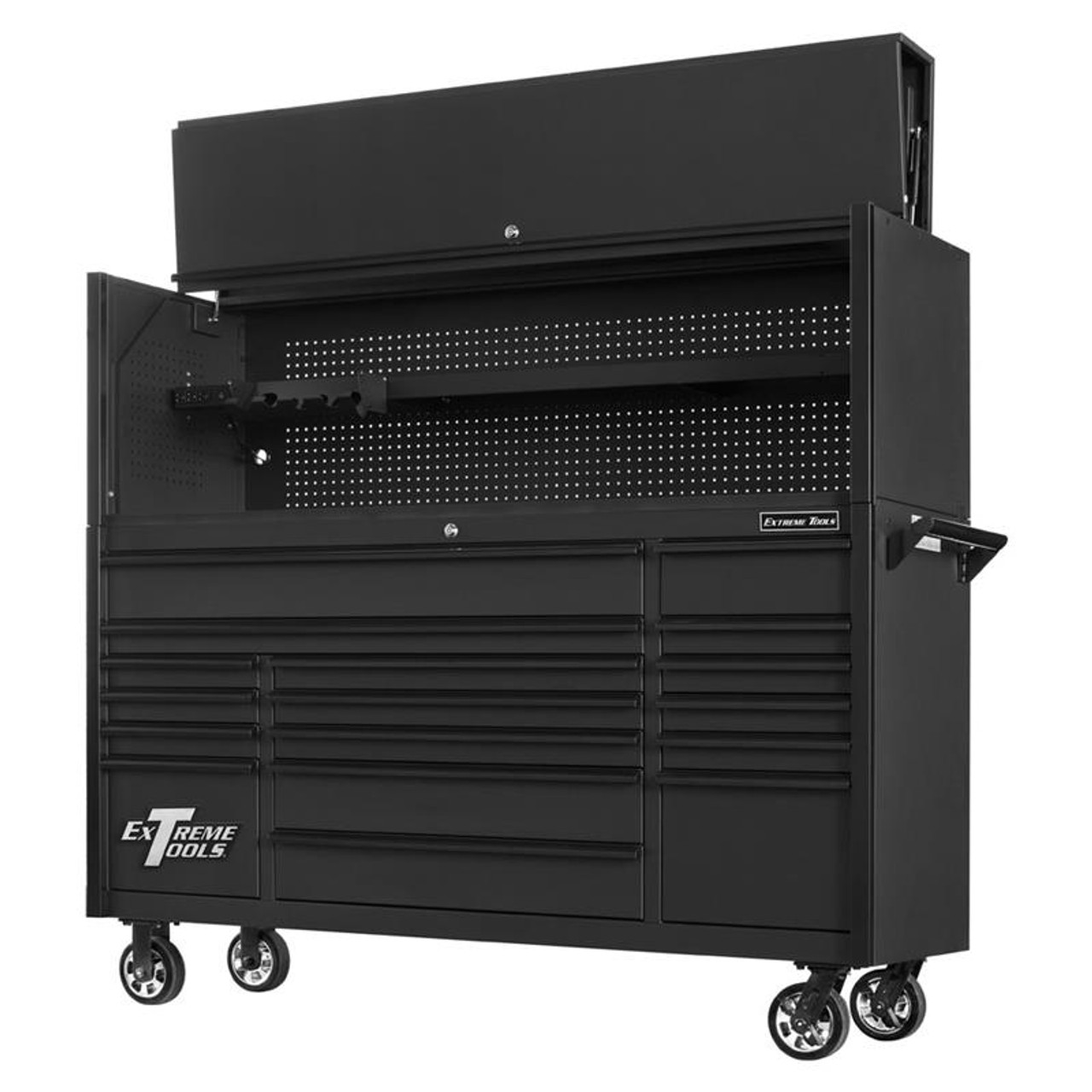 """Extreme Tools DX722117RCMBBK and DX722101HCMBBK Combo - DX Series 72"""", 17 Drawer, 21"""" Deep Roller Cabinet and Matching Hutch - Matte Black with Black Drawer Pulls"""