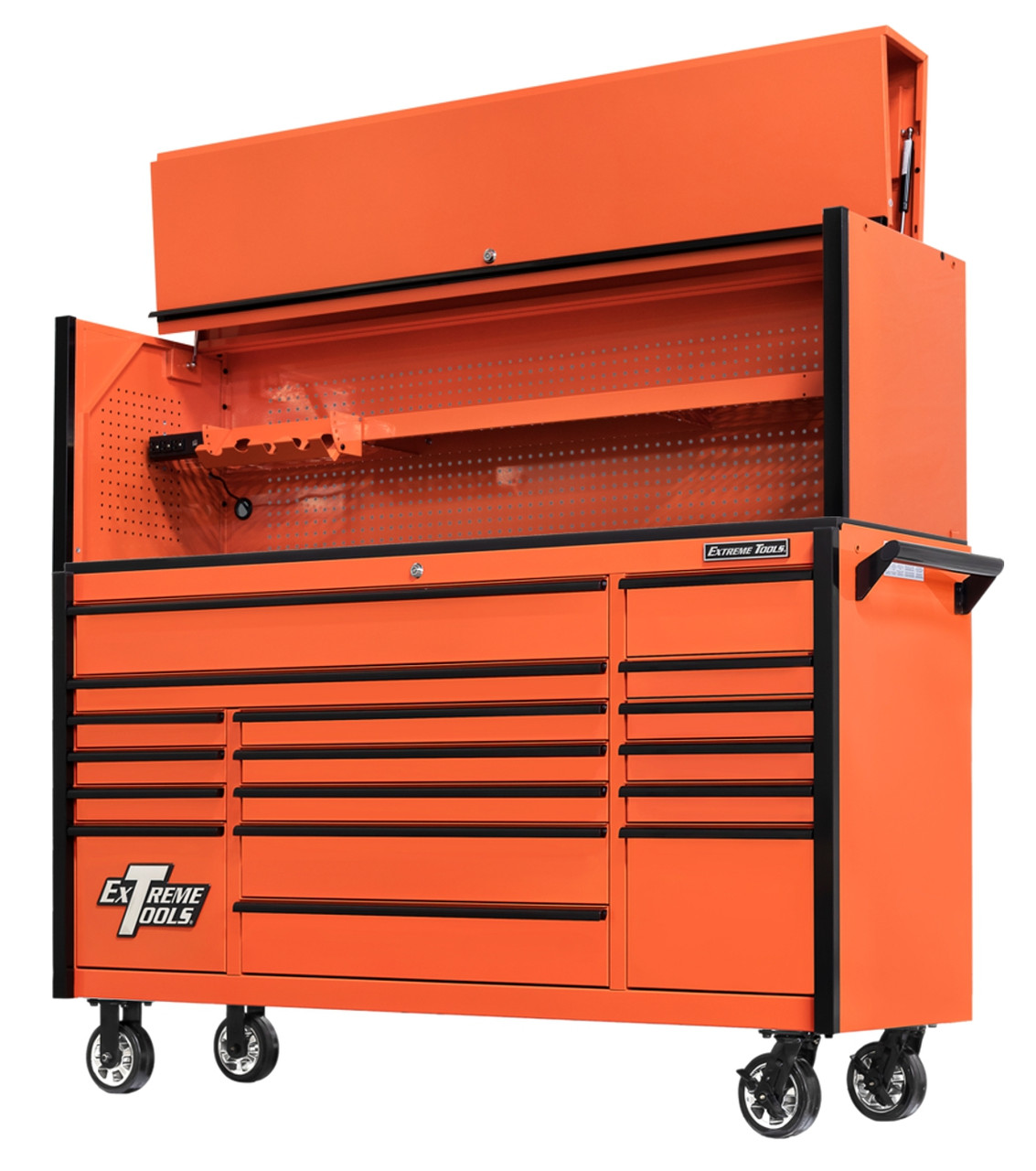 """Extreme Tools DX722117RCORBK and DX722101HCORBK Combo - DX Series 72"""", 17 Drawer, 21"""" Deep Roller Cabinet and Matching Hutch - Orange with Black Drawer Pulls"""