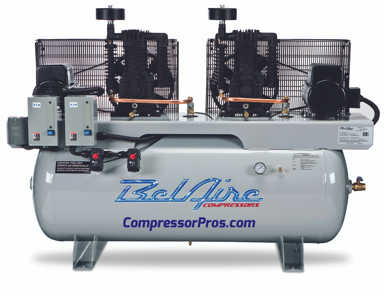 BelAire 6312D 2 x 10 HP Duplex 208-230 Volt Three Phase Two Stage Cast Iron 120 Gallon Air Compressor