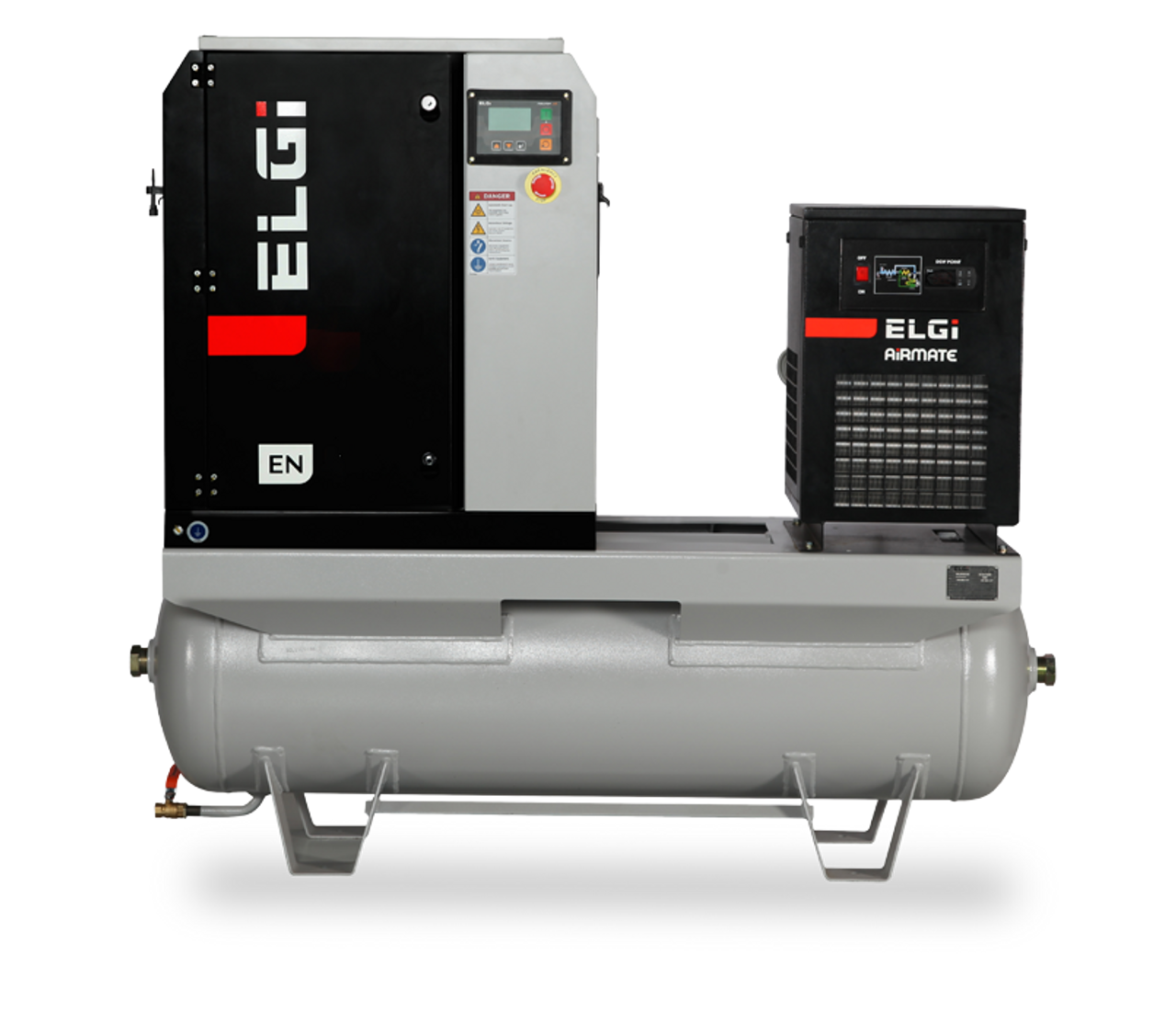 Elgi EN04-150-60T-G2 5 HP 208 Volt Three Phase Rotary Screw  Air Compressor Compressor 60 Gallon Horizontal Tank Mount with Dryer- 150 psi