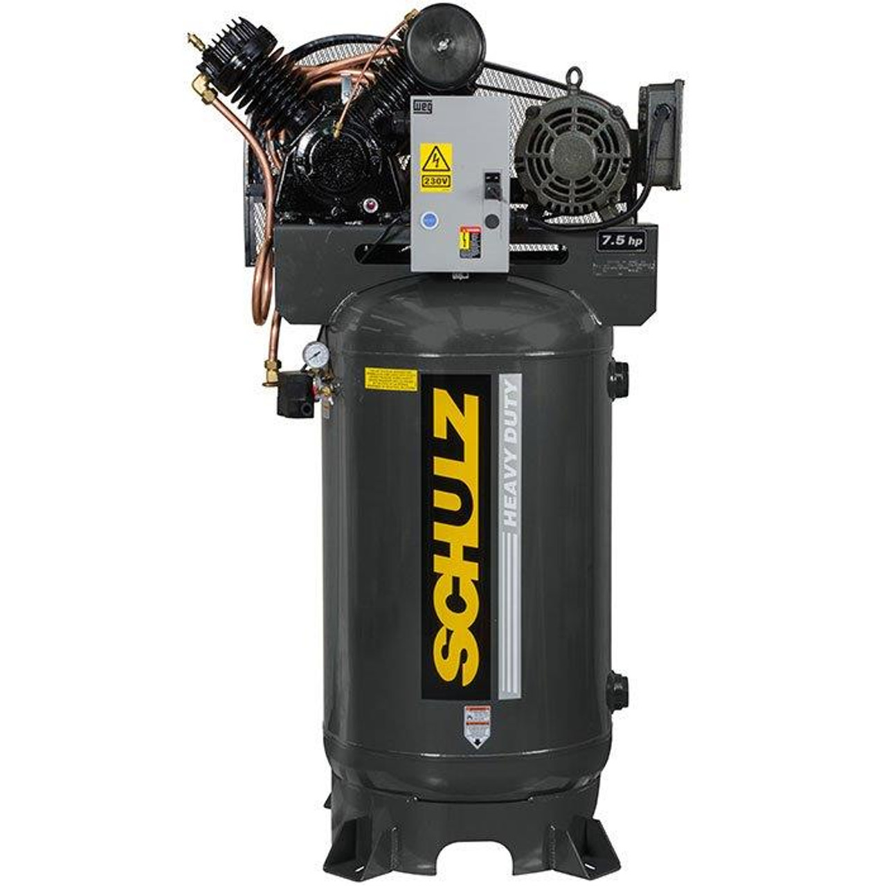 Schulz 7580VV30X-1 7.5 HP 230 Volt Single Phase Two Stage 80 Gallon Vertical Air Compressor