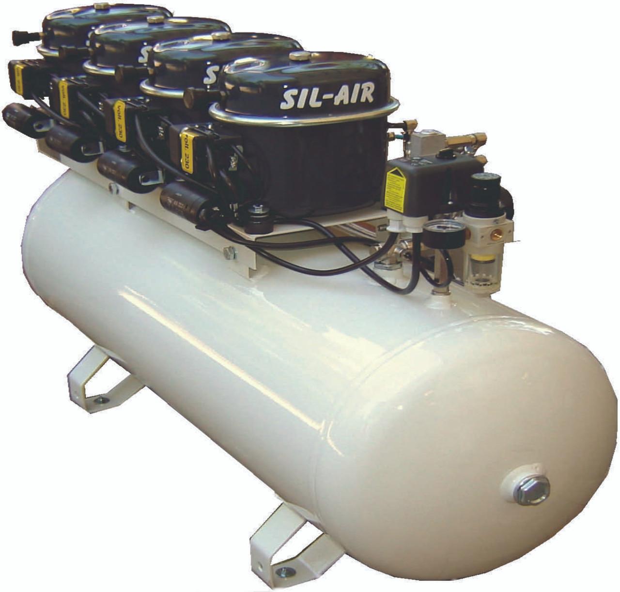 Sil-Air 200-100 4 x 1/2 HP 230 Volt Single Phase 26 Gallon Silent Air Compressor by Silentaire Technologies