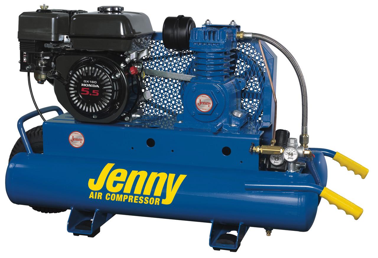 Jenny K5HGE-8P-DU 5.5 HP Honda Gasoline Driven Single Stage Portable Air Compressor 150 psi with Discharge Unloader