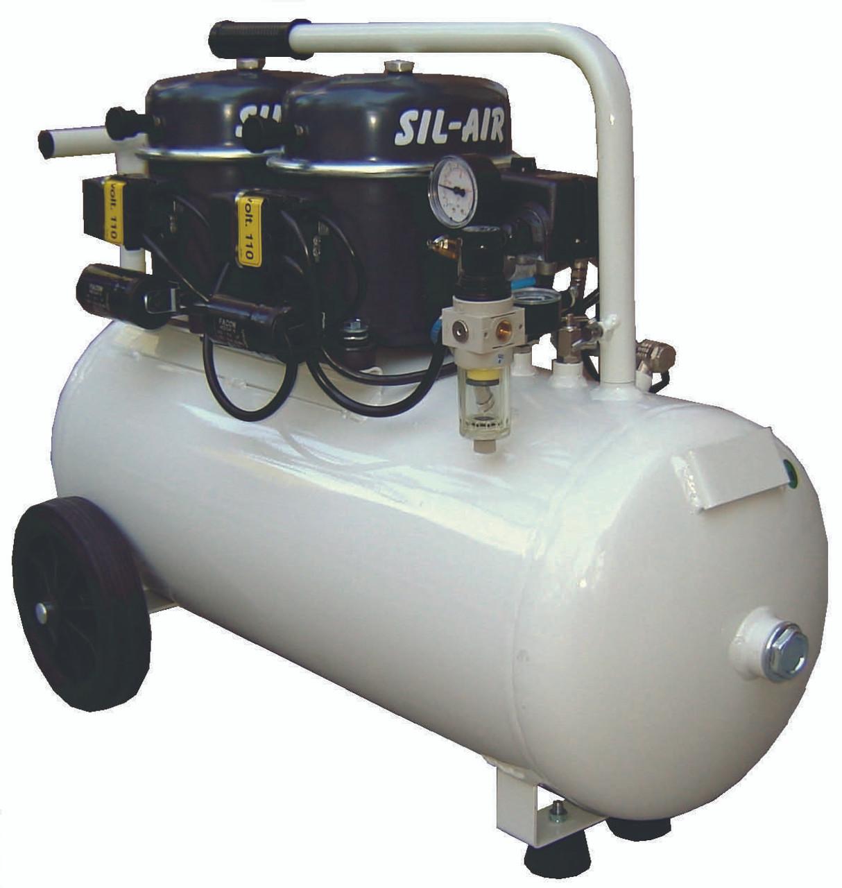Sil-Air 100-50 2 x 1/2 HP Single Phase 13 Gallon Silent Air Compressor by Silentaire Technologies