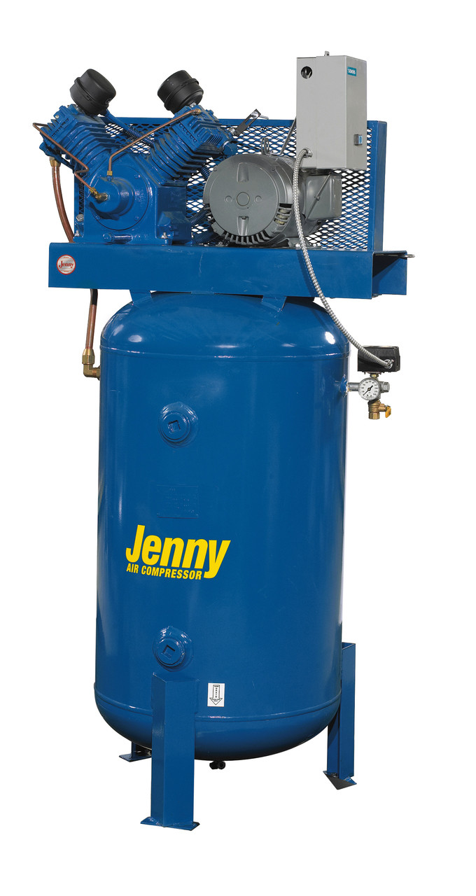 Jenny W5B-80V 5 HP 230 Volt Single Phase Two Stage 80 Gallon Air Compressor with Electric Auto Drain and Dual Control