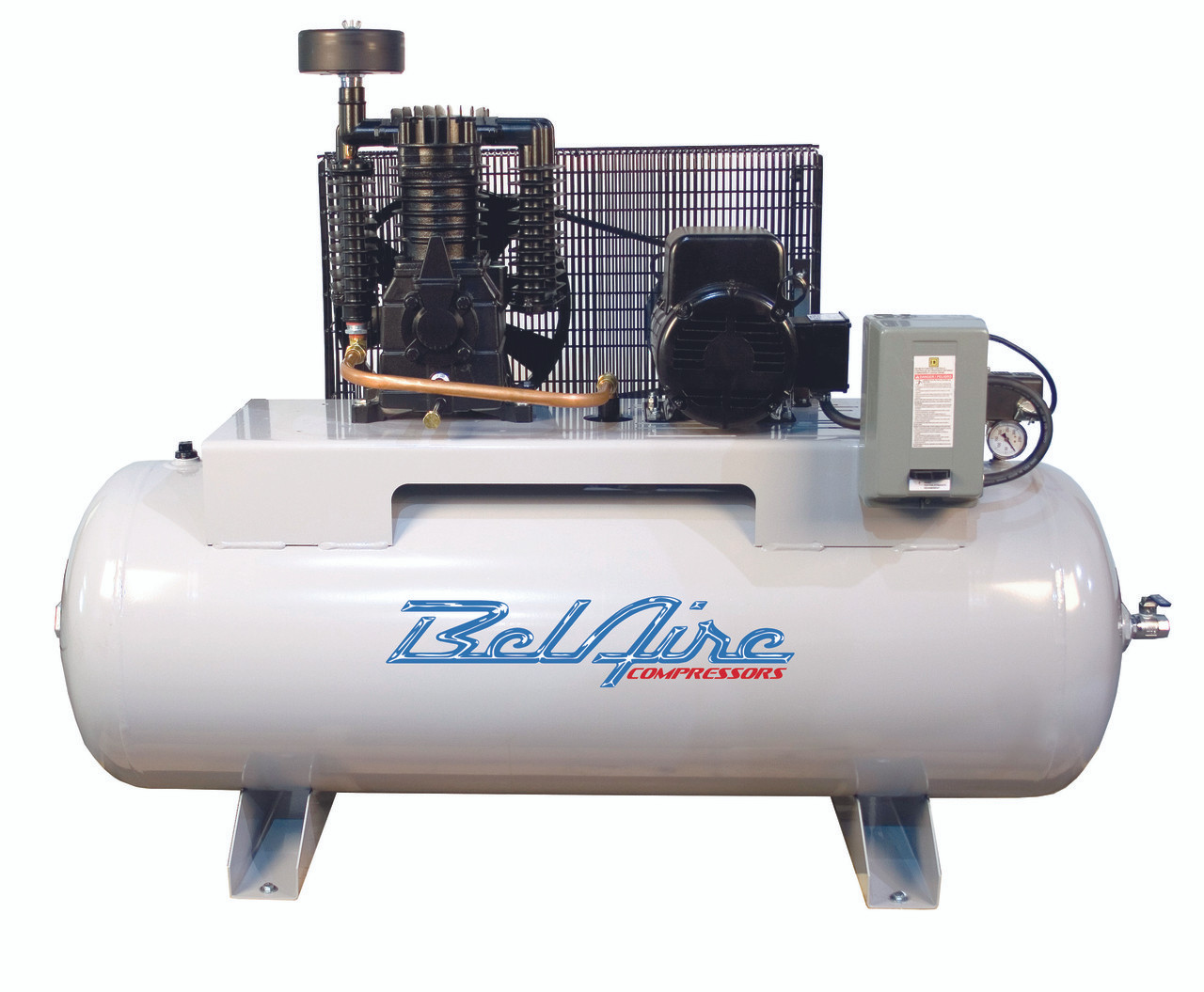 BelAire 318H 5 HP 208-230 Volt Single Phase Two Stage 80 Gallon Horizontal Air Compressor