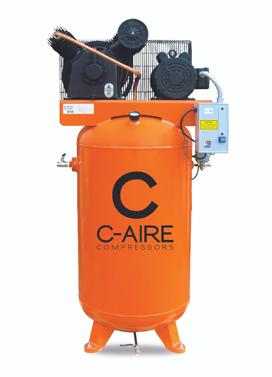 C-Aire A050V080-1230 5 HP Single Phase Two Stage 80 Gallon Air Compressor
