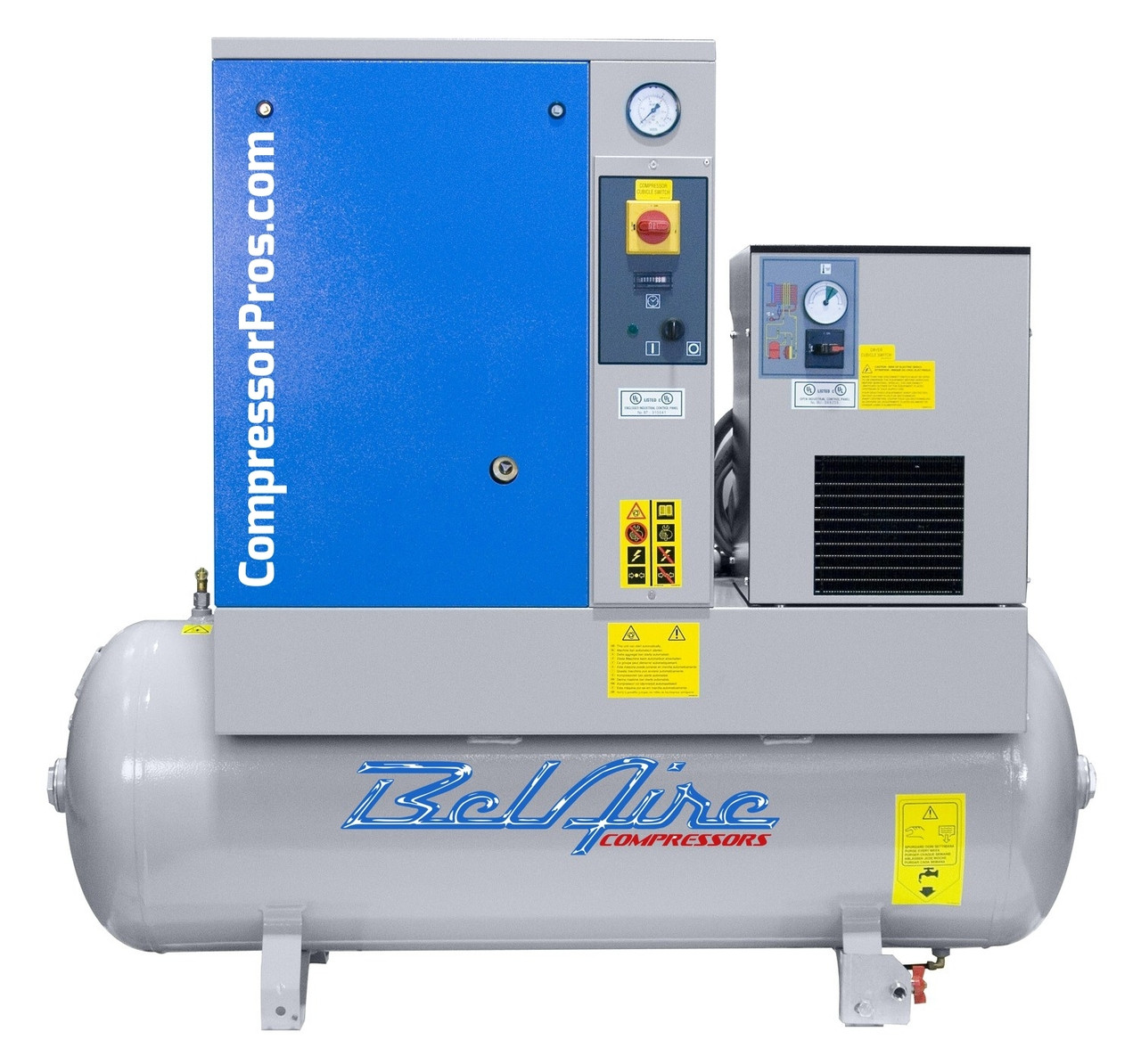 BelAire BR75501D 7.5 HP 208-230 Volt Single Phase Rotary Screw Air Compressor with Dryer