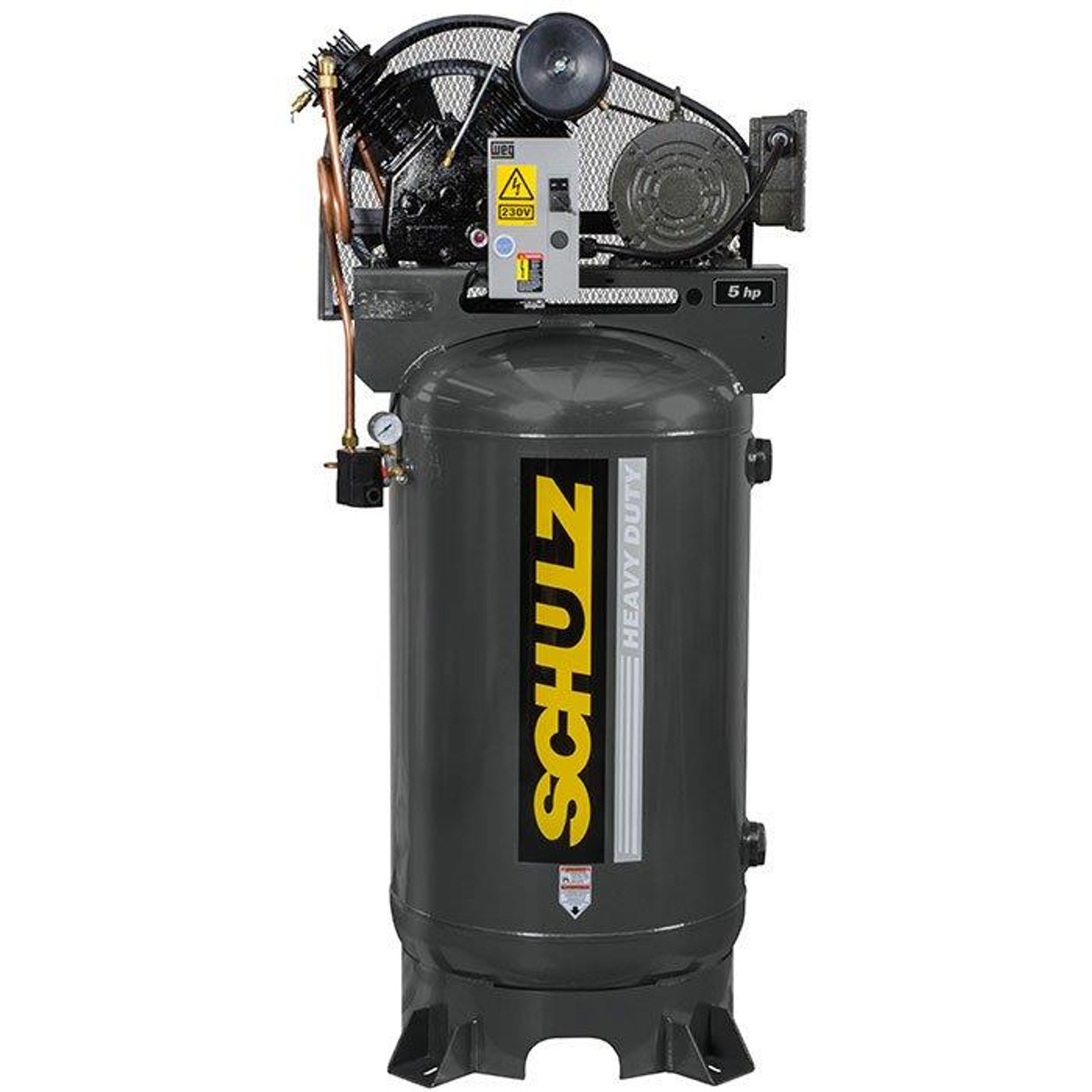 Schulz 580VV20X-3 5 HP 208-230 Volt Three Phase Two Stage Cast Iron 80 Gallon Vertical Air Compressor