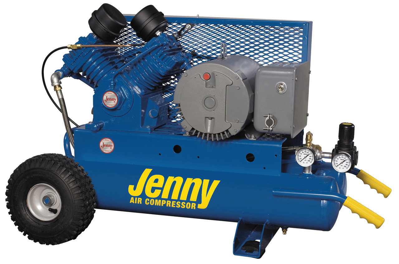 Jenny G5A-8P 5 HP 230 Volt Single Phase Single Stage Twin Tank Portable Air Compressor