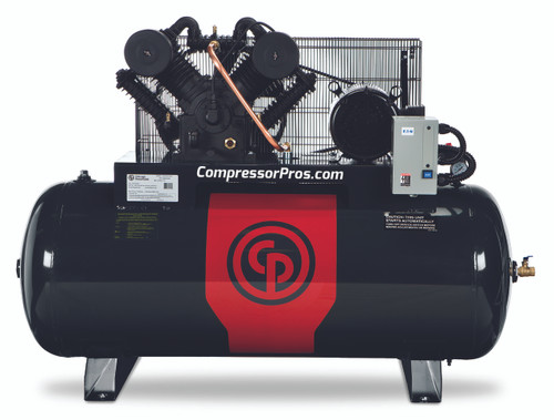 Chicago Pneumatic RCP-C10123H 10 HP 208-230 Volt Three Phase Two Stage Cast Iron 120 Gallon Full Featured Air Compressor