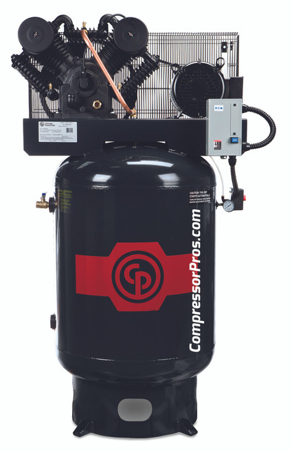 Chicago Pneumatic RCP-C10123V4 10 HP 460 Volt Three Phase Two Stage Cast Iron 120 Gallon Full Featured Air Compressor