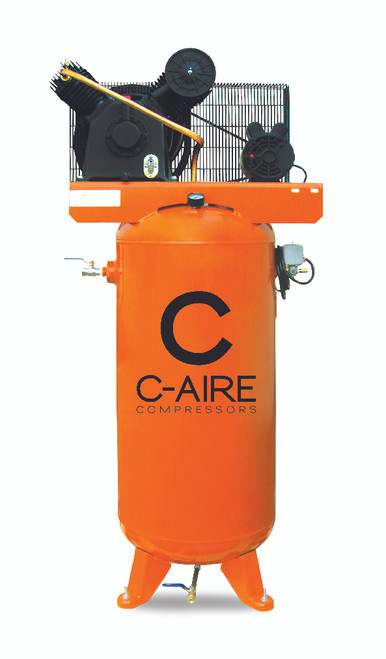 C-Aire A050V060-1230FP 5 HP 208-230 Volt Single Phase Two Stage 60 Gallon Air Compressor Fully Packaged