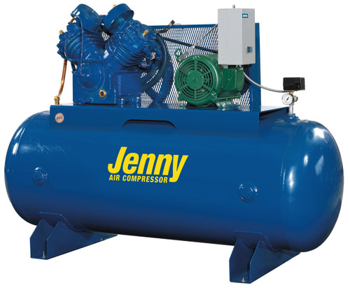 Jenny U75B-120V 7.5 HP SIngle Phase 120 Gallon Air Compressor (Horizontal Shown)