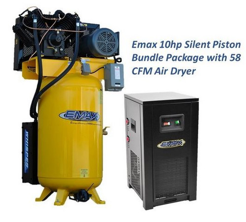 ESP10V080V1PK 10 HP Single Phase Air Compressor with Silencer and Dryer