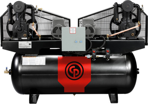 Chicago Pneumatic RCP-C10123D 2 x 5 HP 208-230 Volt Three Phase Two Stage 120 Gallon Duplex Air Compressor
