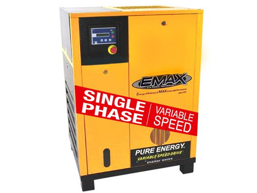 EMAX ERV0150001 15 HP Single Phase Variable Speed Rotary Screw Air Compressor