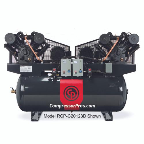 Chicago Pneuatic RCP-C20123D 2 x 10 HP 208-230 Volt Three Phase Two Stage 120 Gallon Duplex Air Compressor