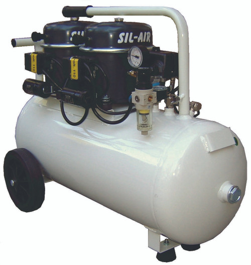 Sil-Air 100-50 2 x 1/2 HP Single Phase 13 Gallon Silent Air Compressor by Silentaire Technologies