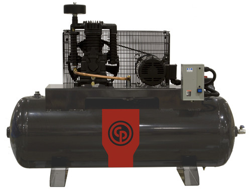 Chicago Pneumatic RCP-7583H 7.5 HP 208-230 Volt Single Phase Two Stage 80 Gallon Horizontal Full Featured Air Compressor