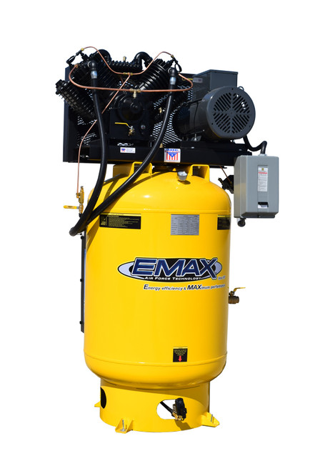 EMAX Industrial Plus ESP10V120V3 Whisper Series 10 HP 3 PH 120 Gallon Vertical Air Compressor with Air Silencer