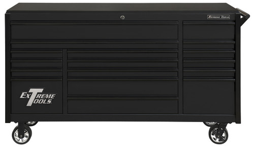 "Extreme Tools DX722117RCMBBK - DX Series 72"", 17 Drawer, 21"" Deep Roller Cabinet - Matt Black with Black Drawer Pulls"