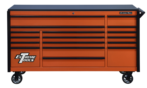 "Extreme Tools DX722117RCORBK - DX Series 72"", 17 Drawer, 21"" Deep Roller Cabinet - Orange with Black Drawer Pulls"