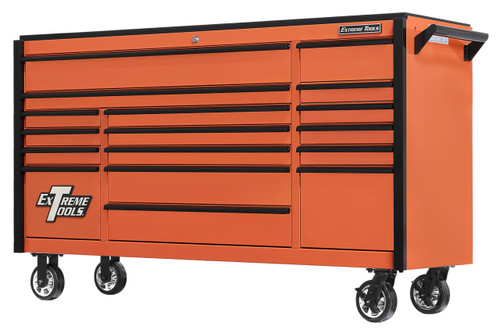 "Extreme Tools DX722117RCORBK - DX Series 72"", 17 Drawer, 21"" Deep Roller Cabinet - Orange with Black Drawer Pulls"