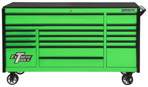 "Extreme Tools DX722117RCGNBK - DX Series 72"", 17 Drawer, 21"" Deep Roller Cabinet - Green with Black Drawer Pulls"