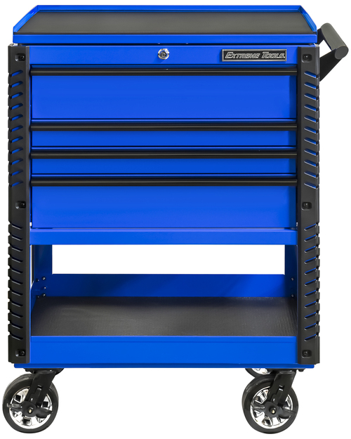 """Extreme Tools EX3304TCBLBK 33"""" 4 Drawer Deluxe Series Tool Cart - Blue with Black Drawer Pulls"""