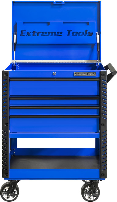 "Extreme Tools EX3304TCBLBK 33"" 4 Drawer Deluxe Series Tool Cart - Blue with Black Drawer Pulls"