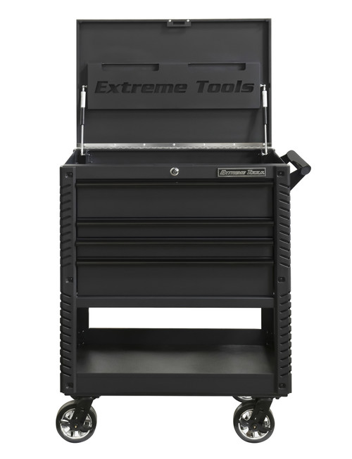 """Extreme Tools EX3304TCMBBK 33"""" 4 Drawer Deluxe Series Tool Cart - Matt Black with Black Drawer Pulls"""