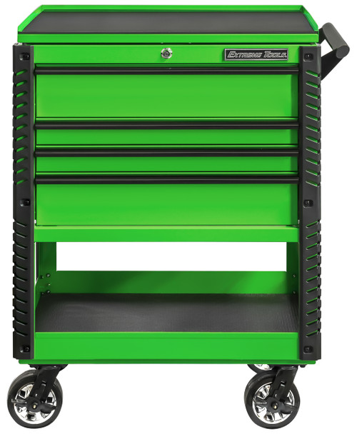 """Extreme Tools EX3304TCGNBK 33"""" 4 Drawer Deluxe Series Tool Cart - Green with Black Drawer Pulls"""