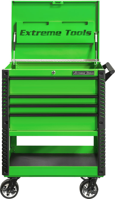 "Extreme Tools EX3304TCGNBK 33"" 4 Drawer Deluxe Series Tool Cart - Green with Black Drawer Pulls"