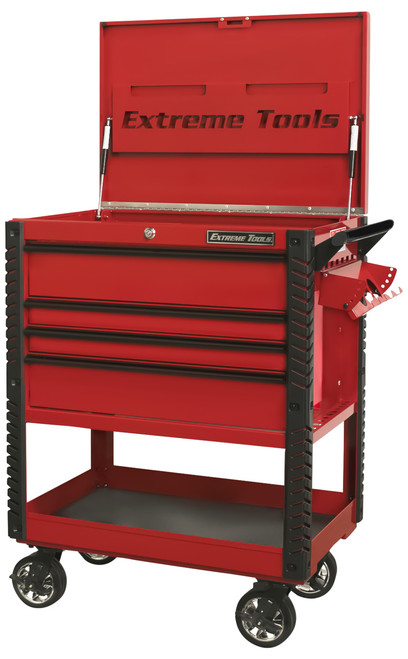 "Extreme Tools EX3304TCRDBK 33"" 4 Drawer Deluxe Series Tool Cart -Red with Black Drawer Pulls"