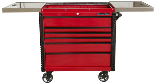 """Extreme Tools EX4106TCSRDBK 41"""" 6 Drawer Deluxe Series Sliding Top Tool Cart -Red with Black Drawer Pulls"""