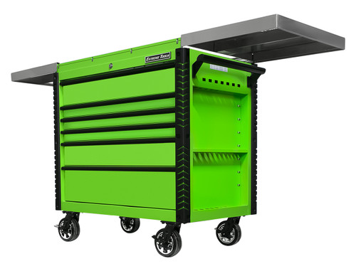 "Extreme Tools EX4106TCSGNBK 41"" 6 Drawer Deluxe Series Sliding Top Tool Cart -Green  with Black Drawer Pulls"