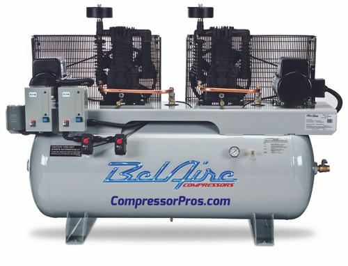 BelAire 4112D 2x5 HP 208-230 Volt Single Phase Two Stage Cast Iron 120 Gallon Duplex Air Compressor