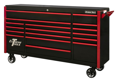 "Extreme Tools DX722117RCBKRD - DX Series 72"", 17 Drawer, 21"" Deep Roller Cabinet - Black with Red Drawer Pulls"