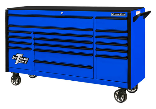"Extreme Tools DX722117RCBLBK - DX Series 72"", 17 Drawer, 21"" Deep Roller Cabinet - Blue with Black Drawer Pulls"