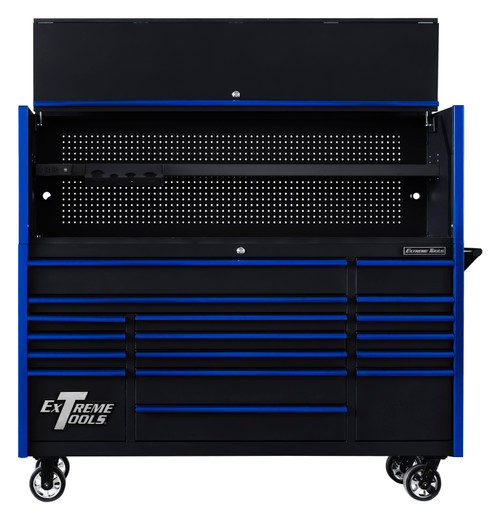 "Extreme Tools DX722101HCBKBL 72"" x 21"" Hutch Black with Blue Drawer Pulls Shown with Roller Cabinet"