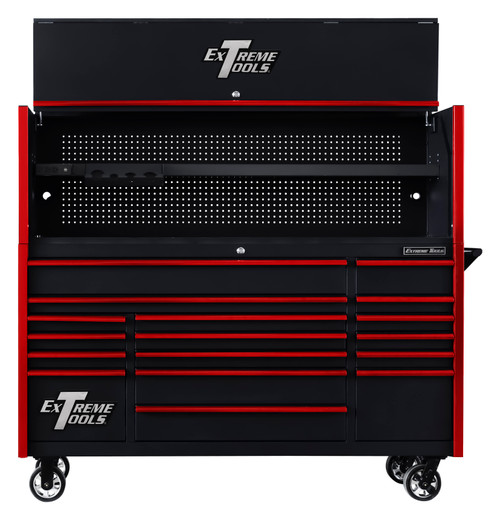 "Extreme Tools DX722101HCBKRD 72"" x 21"" Hutch Black with Red Drawer Pulls (Shown with Roller Cabinet - Not Included)"