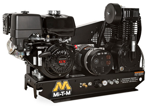 Mi-T-M AG2-SH13-B 13 HP Honda Powered Base Mount Air Compressor/Generator Combo with Electric Start