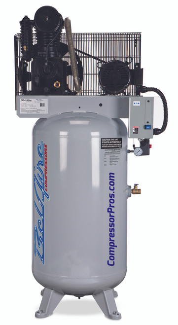 BelAire 438VE 5HP 208-230 Volt Three Phase Two Stage Cast Iron 80 Gallon Full Featured Air Compressor