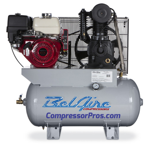 BelAire 4G3HH 11 HP Honda Two Stage Cast Iron Gasoline Driven 30 Gallon Service Truck Air Compressor