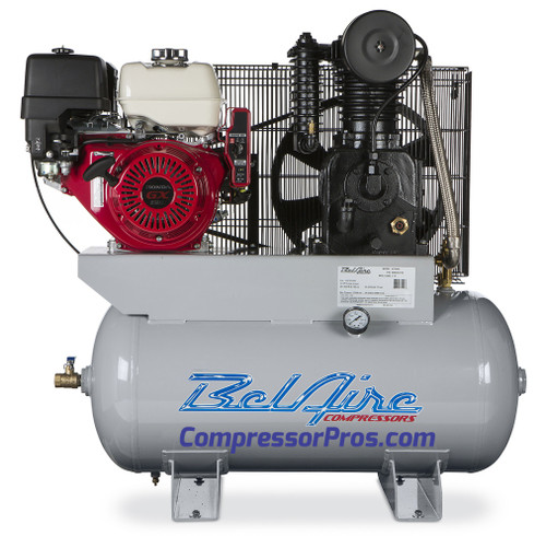 BelAire 4G3HHL 13 HP Honda Two Stage Cast Iron Gasoline Driven 30 Gallon Service Truck Air Compressor