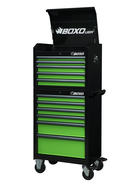 """BOXO USA 26TB-G 26"""" Roller Cabinet and Top Chest - Gloss Black with Gloss Green Drawers with  Anodized Drawer Pulls"""