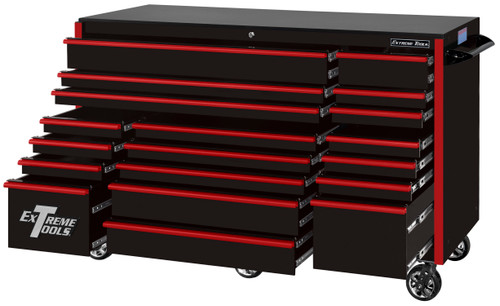"Extreme Tools RX723019RCBKRD-250 - RX Series 72"", 19 Drawer, 30"" Deep Roller Cabinet - Black with Red Drawer Pulls"