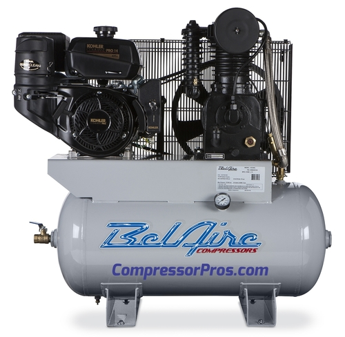 BelAIre 4G3HKL 14 HP Kohler Two Stage Cast Iron Gasoline Driven 30 Gallon Service Truck Air Compressor